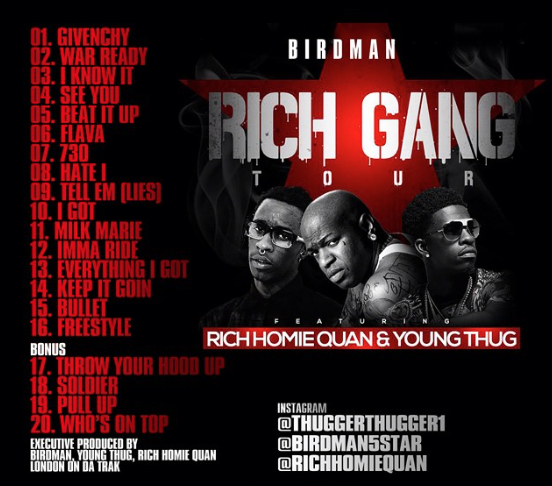 birdman, rich Gang Tour