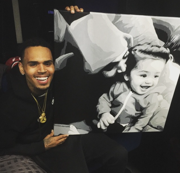 chris brown & art painting by fan