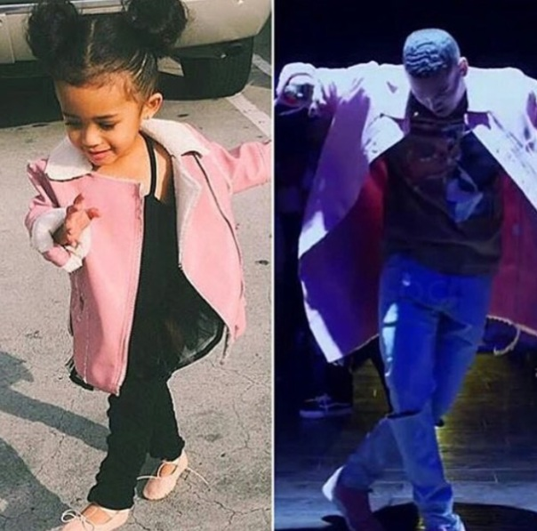 Chris brown twining with his little one - Westpoppn.com
