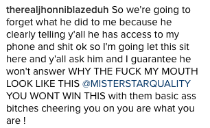 Instagram shot - Jhonni Blaze responds to boyfriend - WESTPOPPN.COM