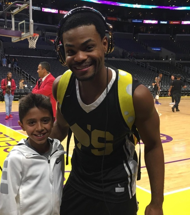 Gabriel and king Bach at Aces celebrity Bball game charity for cancer - Westpoppn.com