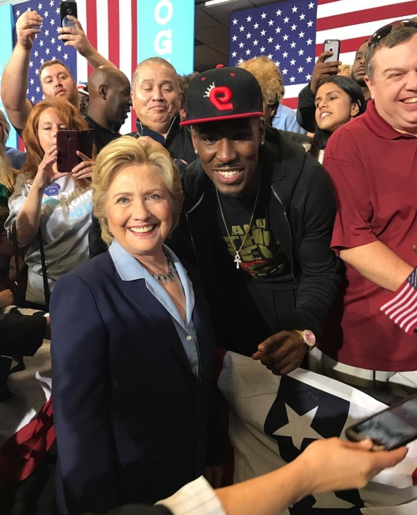 WESTPOPPN.com - Hilary Clinton with Professional Boxer Robert Easter Jr.