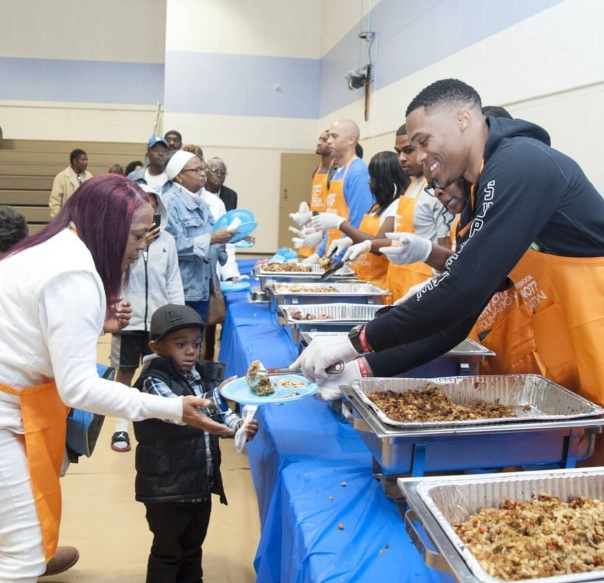 Russell Westbrook at the why not foundation for thanksgiving - Westpoppn.com