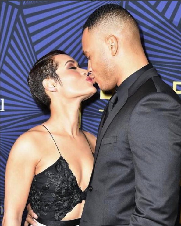 #ABFFHONORS #BET #TraiByers in @hugoboss and wife #GraceGealey in a @csiriano dress - WESTPOPPN.COM